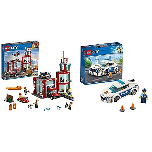 LEGO CityFire CasermaDeiPompieri, Set Di Costruzioni Con Fuoristrada Giocattolo, Scooter Acquatico &CityPoliceAutoDiPattugliaDellaPoliziaConMinifiguraDelPoliziotto,SetVeicoli