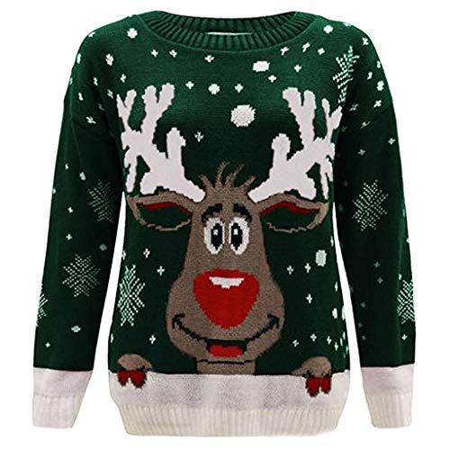 ღLILICATღ Mujer Sudaderas Navidad Jersey Casual Camisa Navideña Estampada de Reno Blusa Cómodo Pullover Caliente Suéter Ropa de Invierno Tops S-2XL