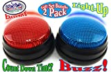 Matty's Toy Stop Lights & Sounds Electronic 3 Mode Red & Blue Game Answer Buzzer and Count Down Timer Gift Set Bundle (Perfect for Games, Classrooms, etc.) - 2 Pack
