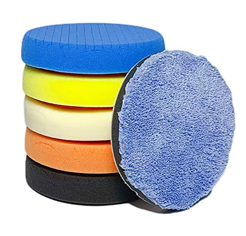 IOSUA 6Pcs 6inch Buffing Pads Polishing Pads Polishing Grip Pad for Car Polisher Boat Polisher Buffer (150mm)