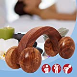Indian Crafts Idea Handheld Wooden body calf massager, Rolling massager 4 wheels, massage therapy tool, massage roller wheels, Wooden calf acupressure Roller Massager for back, Neck, Head pain relief.