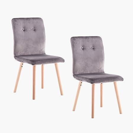 Marque Amazon -Movian Wye - Lot de 2 chaises de salle à manger, gris