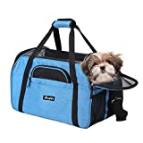 JESPET Soft Sided Pet Carrier Comfort to Travel for Small Animals/Cats/Kitten/Puppy, Turquoise, 19' x 10' x 13'