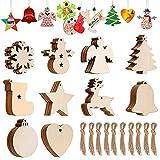 Hazrcvr Colgantes de Madera para Navidad 100 Piezas Decoracion Arbol Navidad Madera Ornamentos de Navidad Adornos Navidad Madera Manualidades Navidad Copos de Nieve Decoracion, 10 Formas