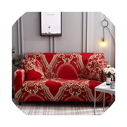 Bernice Winifred Barock Stil Sofahusse Stretch für Wohnzimmer Spandex Schonbezüge Couch Cover Single Double Three Four Seat Sectional Sofa, Color 19, 3-Seater 190-230cm
