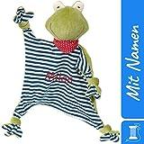 Sigikid Schnuffeltuch Frosch mit Namen Bestickt, Baby & Kinder Schmusetuch personalisiert, Kuscheltuch Geschenkidee Junge, Organic Green Bio, Grün / Blau, 41352