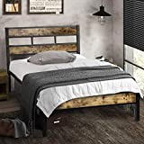Houssem Twin Bed Frame with Wood Headboard and Sturdy Metal Slats,Restic Twin Bed Platform Mattress Foundation Noise-Free,Under-Bed Storage Space,No Box Spring Needed Easy Assembly Twin Size Bed