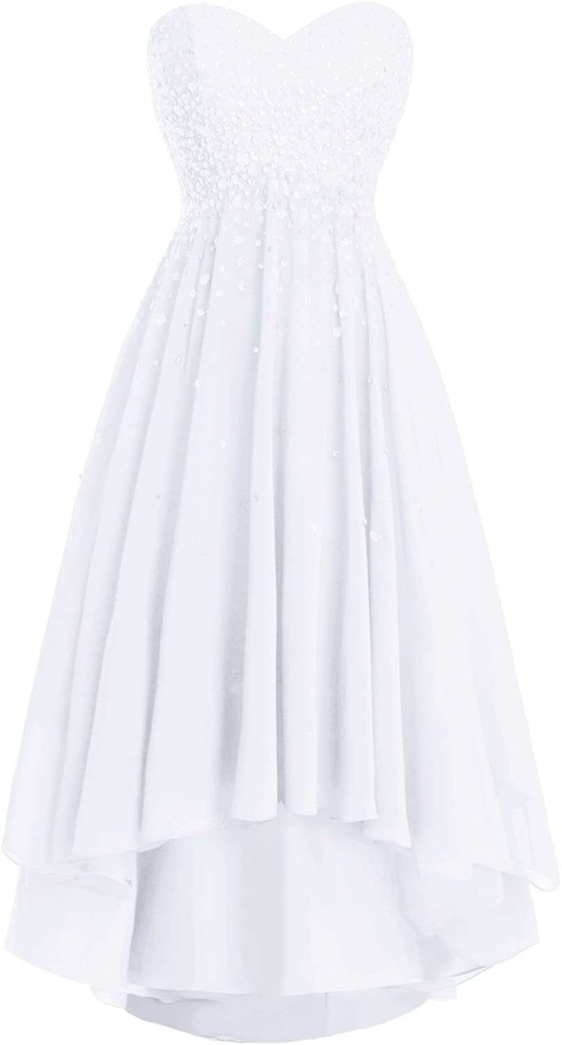 Dasior Women's Strapless High Low Beaded Prom Party Dress