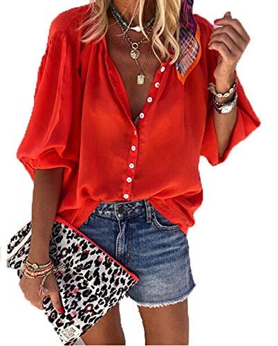 AVASAGS Damen Elegant Bluse Loose Tunika Mit Button-Down Shirt Herbst Chiffon Langarm Oberteile Einfarbig Hemd (Rot, M)