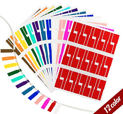 Agoer 12 Farben Kabel Aufkleber – 360er Pack Wasserdich Selbstklebend Kabelbeschriftung Kabeletiketten Etiketten Selbstklebend