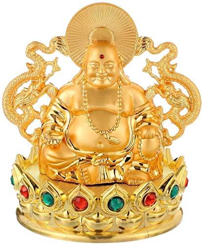 DFJU Figura do Buda Risonho Dourado, Carro do Trono de lótus, Esculturas de Feng Shui Enfeites Maitreya Decoração de escritório doméstico Abençoa a segurança e Riqueza Artesanato