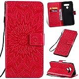 KKEIKO Hülle für LG Q60, PU Leder Brieftasche Schutzhülle Klapphülle, Sun Blumen Design Stoßfest Handyhülle für LG Q60 - Rot