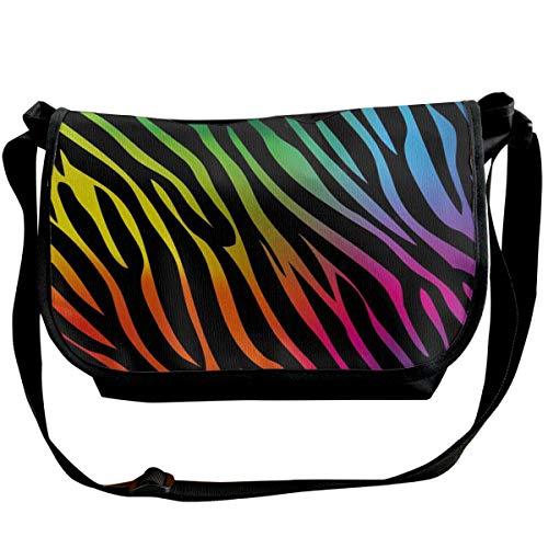 Rainbow Zebra Print Crossbody Tas Enkele Schoudertas Lichtgewicht Tas Met Verstelbare Band Reistas
