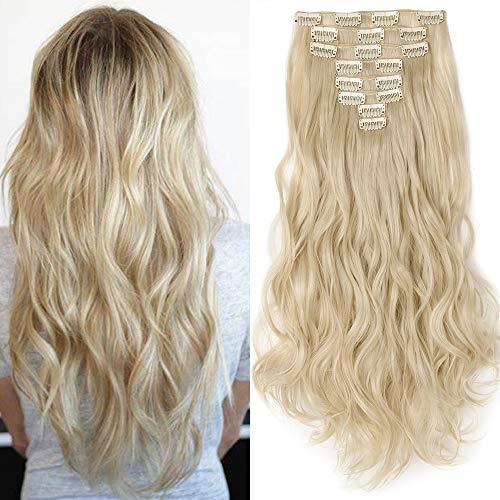 Clip in Extensions Haarverlängerung Haarteil 8 Tresssen wie Echthaar gewellt Gebleichtes Blond 24