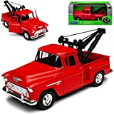 Welly Chevrolet Chevy C-Serie Stepside Pick-up Rot mit Abschlepper Aufbau ca 1/43 1/36-1/46 Modell Auto -