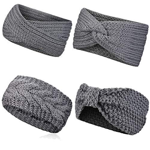WinCret Stirnband Damen Mädchen | Winter Häkeln Stirnbänder Gestrickt Stirnband Stretchy Warm Geflochtene Ohrwärmer Kopf Wickeln Kopfband Haarband