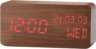 Wood Digital Alarm Clock LED Time Display Wooden Digital Desk Clock with 3 Levels Brightness, Temperature Humidity Detect ...