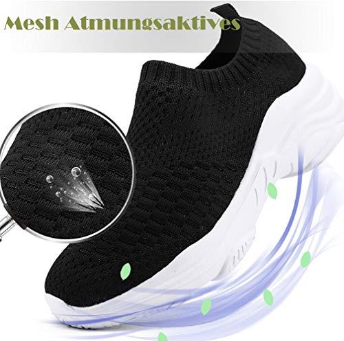 ZUSERIS Zapatillas Deportivas Caminar para Mujer Slip on Calzado de Deporte Zapatos de Correr Running Sneakers Ligeras Zapato Negro 38