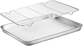 U-HOOME Baking Sheets with A Rack, Cookie Sheets and Nonstick Cooling Rack & Stainless Steel Baking Pans & Toaster Oven Tr...