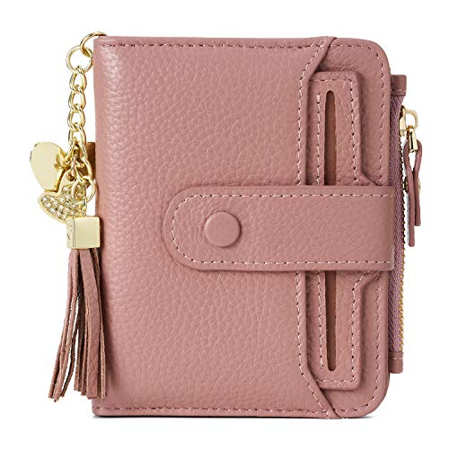 Women's RFID Mini Soft Leather Bifold Wallet with ID Window Card Sleeve Coin Purse(Pink)
