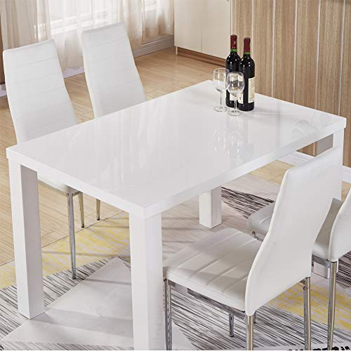 GOLDFAN White High Gloss Dining Table Modern Rectangle Kitchen Tables Wood Style for 4-6 People Dining Room Furniture (Table Only)