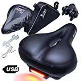 provelo Most Comfortable Bike Seat for Men Women – Rechargeable Taillight – Wide Soft Padded Bicycle Saddle – Comfort Memory Foam Cushion - Black Leather – Protection Cover and Triangle Frame Bag