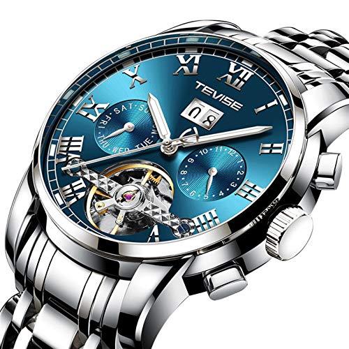 JTTM Moda Business Hombres Automático Mecánico Tourbillon Relojes De Pulsera Acero Inoxidable Correa Luminoso Puntero Calendario Multifunción,Azul