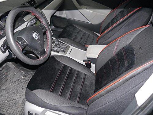 Sitzbezüge K-Maniac für Golf Sportsvan | Universal Schwarz Rot | Autositzbezüge Set Komplett | Autozubehör Innenraum | No. 4 | Kfz Tuning | Sitzbezug | Sitzschoner