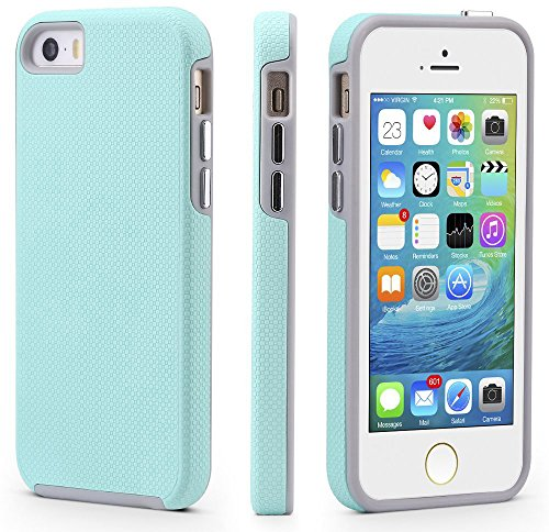 CellEver Compatible with iPhone 5/5s/SE (2016 Edition) Case, Dual Guard Protective Shock-Absorbing Scratch-Resistant Rugged Drop Protection Cover Designed for iPhone 5/5S/SE 2016 (Mint)