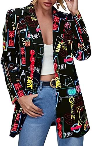 FLYCHEN Chaquetas de Traje y Blazers para Mujer OL Office Lady Chaqueta Floral Coat Casual de Moda Casual Blazers, Negro, S
