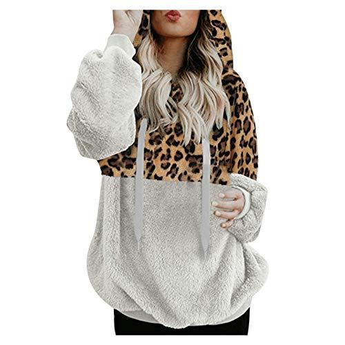 Abrigo Informal con Capucha para Mujer, vellón difuso, Abrigo de Invierno cálido de Lana sintética con Bolsillo de Leopardo, Abrigo de algodón