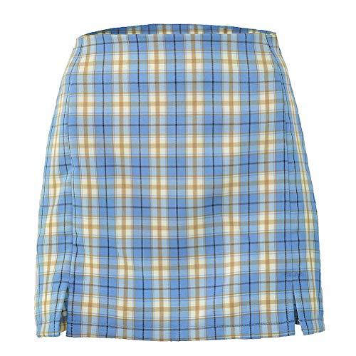 Einsgut Mini-rok voor dames, met Schotse ruit, slim fit, chique rok, geruit, bodycon-rok Small blauw
