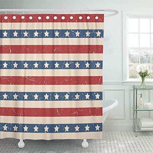 N\A Cortina de Ducha Impermeable Decorativo Patriótico Estadounidense Barras y Estrellas en Colores Vintage Día de la Independencia con Ganchos Cortina de baño