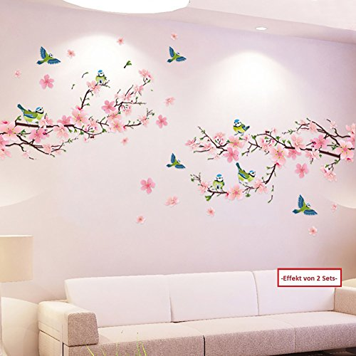 WandSticker4U- XL Wall Stickers CHERRY BLOSSOM with BIRDS I Mural: 170x85 cm I Wall Decals Flowers Tree Peach Branch Plant I Home Decor for Living Room modern Bedroom Kids Kitchen Tiles Hallway