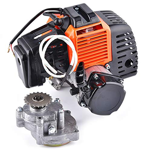 Engine with Performance Gear Box 20T T8F Sprocket replacement for 43cc 2-stroke Motor Gas Scooter Engine Electric Start Version DIY Engine