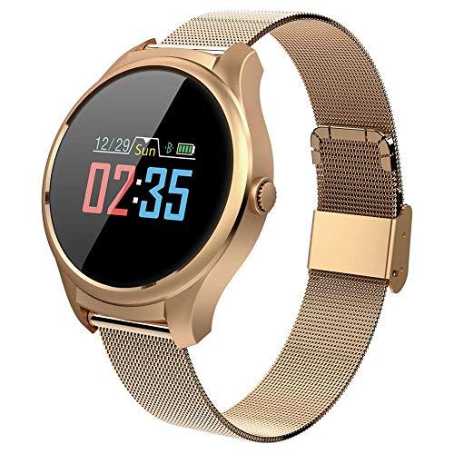 ZTM Smart Watch Rotondo, Fitness Tracker Impermeabile, per Uomo Donna Smart Watch Sportivo da Esterno con-per Android e iOS,Gold