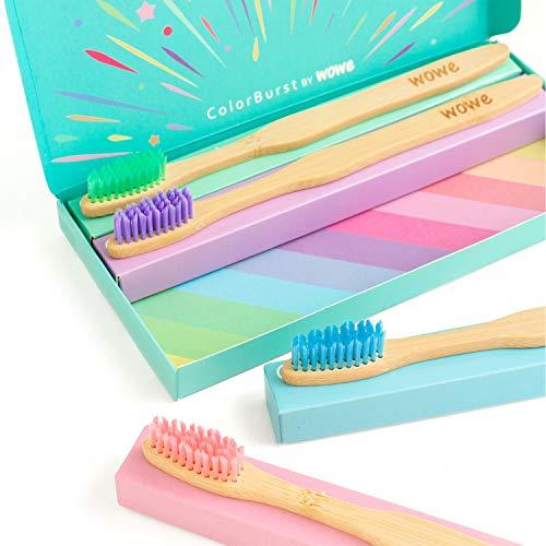 Wowe Lifestyle Natural Organic Bamboo Toothbrush Eco-Friendly Wood, Ergonomic Biodegradable Handle, Soft BPA Free Bristles, Pack of 4… (ColorBurst)