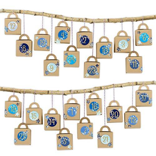 Papierdrachen 24 scatole con Manico per Il Calendario dell'Avvento - Motivo Scatole Marroni con Blu-Oro - da riempire - Natale 2018