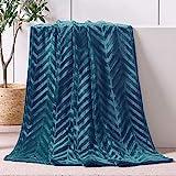 Whale Flotilla Soft Flannel Fleece Lightweight Throw Blanket(50x60 Inch), Brushed Chevron Design Fluffy Plush Cozy Blanket for All Seasons, Grey Blue