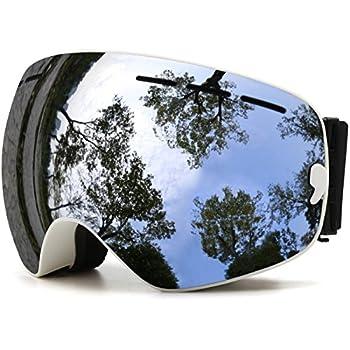 JULI Eyewear Juli OTG Ski Goggles,Frameless Over Glasses Skiing Snow Goggles for Men Women & Youth - 100% UV Protection Dual Lens  White Frame+VLT 18.5% Brown Len with REVO Sliver