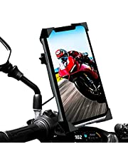 """Soporte movil Moto Scooter sujecion de Aluminio al Espejo retrovisor Soporte con Seguridad Maxima de 4 Esquinas para su Smartphone Compatible con telefonos moviles de hasta 7.2"""""""
