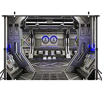 LYWYGG 8x6ft Spaceship Interior Photography Background Science Fiction Spacecraft Photography Background Space Station Photo Studio Props Vinyl CP-38-0806