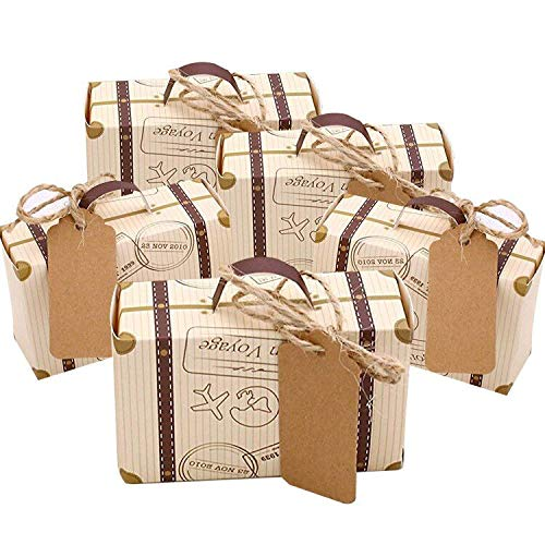 CNNIK 100 Piezas Mini maleta Caja Caja Favor Caramelo Caja Vintage Papel Kraft con etiquetas y hilo de arpillera para bodas/Viajes Fiesta temática Invitado Boda Ducha nupcial