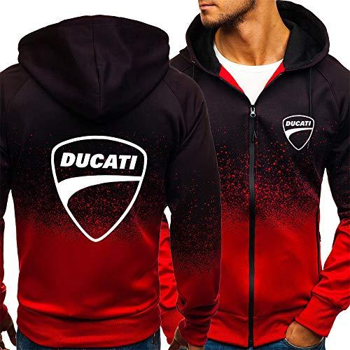 Männer Sweatshirt Jacke Für Ducati Print Gradienten Sweatshirt Baseball Uniform Langarm Casual Sport Breasted Track Und Feldjacke-Jugendgeschenk,red,XL