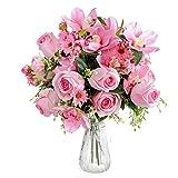 Fleurs Artificielles avec Vase - Bouquet Rose Artificielle en Soie avec Vase Transparent et Ruban en Satin - Fausses Fleurs pour Arrangement Floral, Décoration Intérieur, Mariage (Rose Foncé)