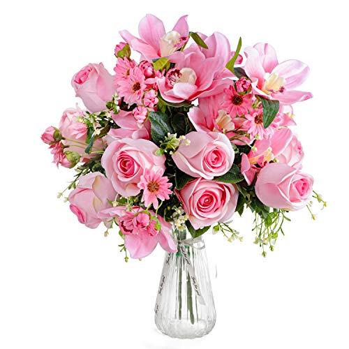 Love Bloom Rosas Artificiales con Florero - Ramillete Rosas/Orquídeas Seda Falsas Floración en Jarrón Transparente con Cinta Raso – Arreglo Florar Decorar Mesa, Hogar, Oficina, Boda (Rosado Oscuro)