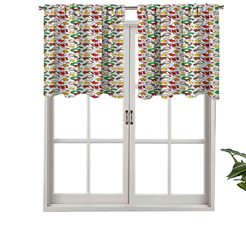 Hiiiman Curtain Valance Rod Pocket Thermal Insulated Cartoon Design Snowman Star Fireplace Socks Red Poinsettia Flower Orna, Set of 2, 42'x36' for Bedroom Bathroom and Kitchen