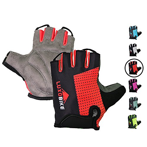 Cycling gloves (Red - Half finger, Small)