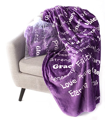 BlankieGram Faith Throw Blanket Gift for Friends and Family with Inspirational Messages for Prayers, Hope, and Love (Purple)