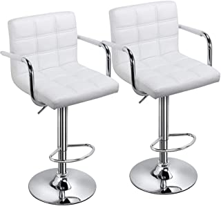 a681586e1fd0 Yaheetech Tall Bar Stools Set of 2 Modern Square PU Leather Adjustable  BarStools Counter Height Stools